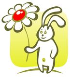 Rabbit with flower Stock Images