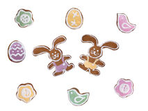 Rabbit, flower, bird and Easter egg shaped cookies Royalty Free Stock Photos