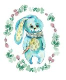 Rabbit in flower circle. Watercolor hand drawing illustration. Spring composition. Rabbits background, watercolor composition. Flower backdrop. Bouquet of vector illustration