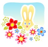 Rabbit and flowers Stock Photography