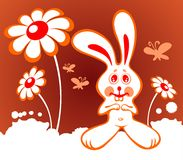 Rabbit and flowers. Cartoon rabbit with flowers on a red background Royalty Free Stock Images