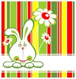 Rabbit and flowers. Cartoon rabbit and flowers on a striped background Royalty Free Stock Photos