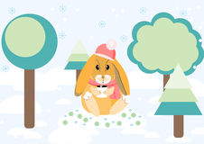 Rabbit in the forest. Vector illustration Royalty Free Stock Images