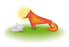 RABBIT AND FOX Stock Photo