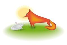 RABBIT AND FOX stock photo