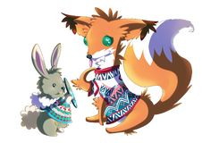 Rabbit and Fox wearing winter sweaters. Rabbit and his friend fox trying out their new winter sweaters. Raster illustration on white background Stock Photography