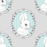 Rabbit in the frame. Seamless background. Hand drawing. Vector illustration royalty free illustration