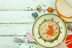 Rabbit galantine aspic for Easter Stock Images