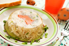Rabbit galantine aspic with vegetables for Easter Stock Photos