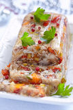 Rabbit galantine with vegetables. Rabbit galantine aspic with vegetables for Christmas Stock Image