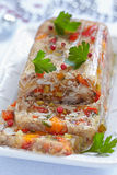 Rabbit galantine with vegetables. Rabbit galantine aspic with vegetables for Christmas Stock Photo