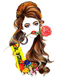 Girls Rose fashion style cute t-shirts printing modern fantastic drawing hair Stock Photography