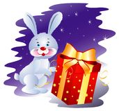 Rabbit with Gift. Cute Bunny near big gift box with bright ribbon. Vector Ai EPS 10 file Stock Images