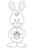 Rabbit with a gift, black and white Royalty Free Stock Image