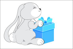 Rabbit with a gift Stock Image