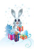 Rabbit with gifts Royalty Free Stock Photography