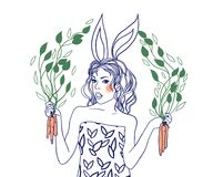 Rabbit-girl Royalty Free Stock Photography