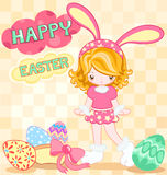 Rabbit girl. Easter card of cute girl dressing with rabbit dress Royalty Free Stock Image