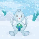 Rabbit girl with box in winter forest Royalty Free Stock Images