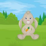 Rabbit girl with carrot in summer forest Royalty Free Stock Photography