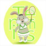 Rabbit girl playing tennis. stock illustration
