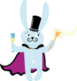 Rabbit with glass of champagne Royalty Free Stock Images