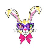 rabbit in glasses, graphics for children products royalty free illustration