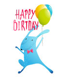 Rabbit Greeting Happy Birthday Card for Children Stock Photos