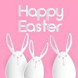 Rabbit Group Bunny Happy Easter Holiday Banner Pink Greeting Card Flat Royalty Free Stock Images
