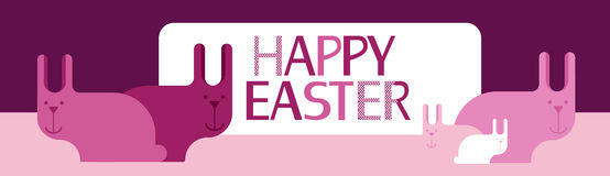 Rabbit Group Bunny Happy Easter Holiday Banner Pink Greeting Card Flat Stock Images