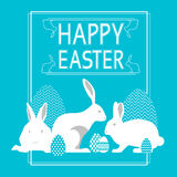 Rabbit Group Bunny With Sketch Painted Eggs Happy Easter Holiday Blue Greeting Card Stock Photos