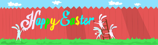 Rabbit Group Standing On Step Ladder Hold Brush Paint Happy Easter Wall Holiday Banner Stock Photo