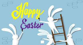 Rabbit Group Standing On Step Ladder Hold Brush Paint Happy Easter Wall Holiday Banner. Rabbit Group Standing On Step Ladder Hold Brush Paint Happy Easter On Stock Photos