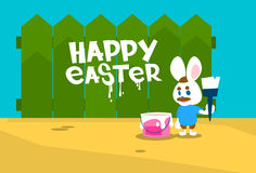 Rabbit Group Standing On Step Ladder Hold Brush Paint Happy Easter Wall Holiday Banner Stock Images