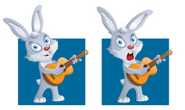 Rabbit with a guitar. Funny rabbit playing guitar and singing a song. Cartoon styled vector illustration. Elements is grouped and divided into layers for easy Stock Photography