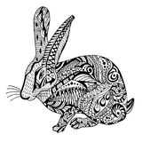 Rabbit hand drawn doodle graghic. Object isolated on white. Floral mandala Stock Images