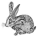 Rabbit Hand drawn sketched vector illustration.. Doodle bunny graphic with ornate pattern. Design  on white Stock Photography
