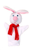 Rabbit hand puppet. White rabbit hand puppet isolated wearing a red scarf Stock Images