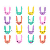 Rabbit Handdrawn Emoticons Color 3 Stock Photography
