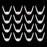 Rabbit Handdrawn Emoticons White 2 Royalty Free Stock Images