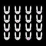 Rabbit Handdrawn Emoticons White 3 Royalty Free Stock Photo