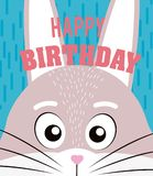 Rabbit Happy birthday card. Rabbit cartoon on happy birthday card vector illustration graphic design Royalty Free Stock Images