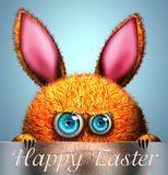 Rabbit with happy easter greeting card Stock Image