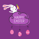 Rabbit hare bunny carrot. Happy Easter. Cloud frame. Hanging painted eggs. Dash line with bows. Greeting card. Flat design style. Royalty Free Stock Photos