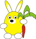 Rabbit (hare) with a carrot. Cartoon, toy, isolated  illustration Royalty Free Stock Photography