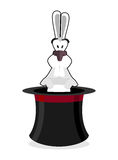 Rabbit in hat. Accessory magician. White rabbit in magic cap. Fo Royalty Free Stock Image