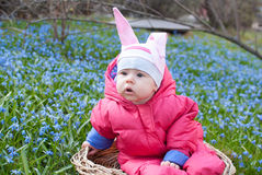 Rabbit hat infant girl Stock Photos