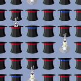 Rabbit in hat seamless pattern. Vector background for magical pr Stock Photo