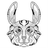 Rabbit head doodle with black nose. Royalty Free Stock Image