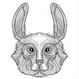 Rabbit head doodle with black nose. Royalty Free Stock Photos